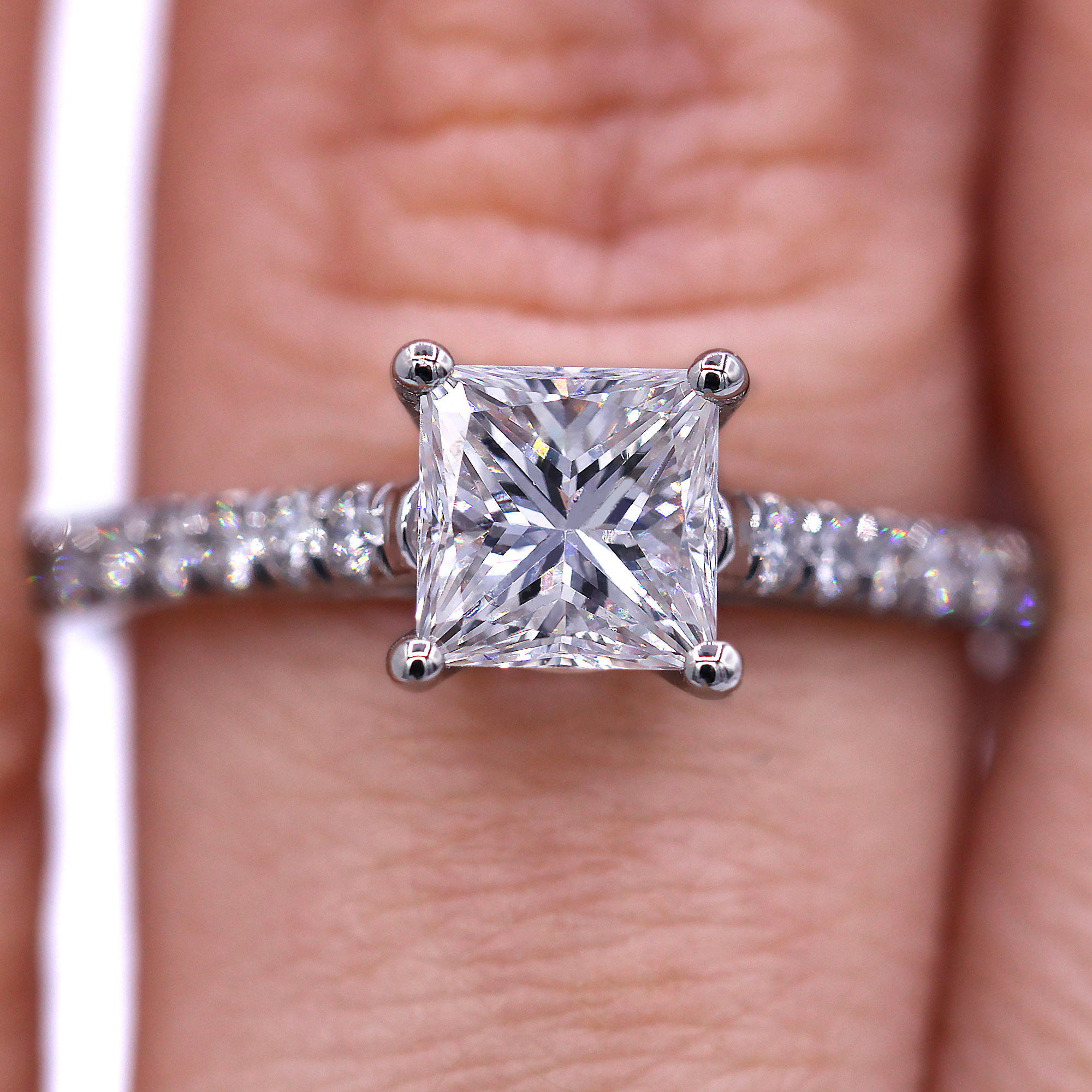 Platinum 1.18 carat princess cut diamond engagement ring - Luxury ...