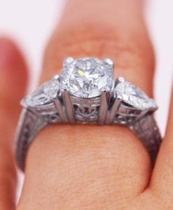 Art Deco Round and Pear Diamond Ring